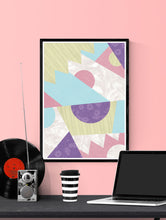 Load image into Gallery viewer, Zig Zag Pop Art Pastel Geometric Wall Art in a frame on a wall
