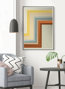 Zig Zag Retro Wall Print in stylish modern room