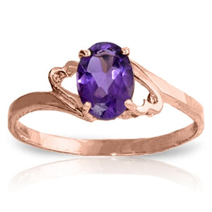0.75 Carat 14K Solid Rose Gold Gigi Purple Amethyst Ring-Rose Gold Ring Purple Amethyst-Luvviu