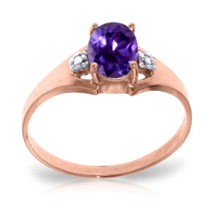 0.76 Carat 14K Solid Rose Gold Brilliance Amethyst Diamond Ring-Rose Gold Ring Diamond Purple Amethyst-Luvviu