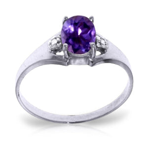 0.76 Carat 14K Solid White Gold Amethyst Diamond Ring-White Gold Ring Diamond Purple Amethyst-Luvviu
