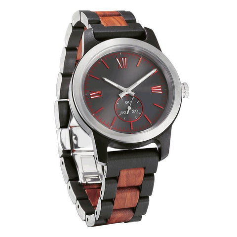 Men's Handcrafted Engraving Ebony & Rose Wood Watch - Best Gift Idea!-Men - Accessories - Watches-Luvviu