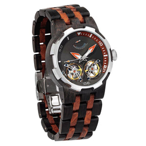 Men's Dual Wheel Automatic Ebony & Rosewood Watch - 2019 Most Popular-Men - Accessories - Watches-Luvviu