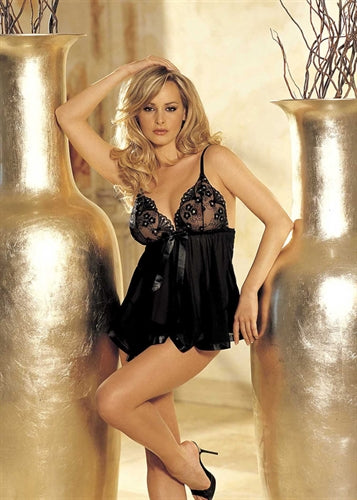 Sequin Embroidery and Sheer Net Baby Doll - One Size - Black-Luvviu
