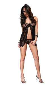 Romantic Lace Babydoll and G-String - One Size - Black-Luvviu