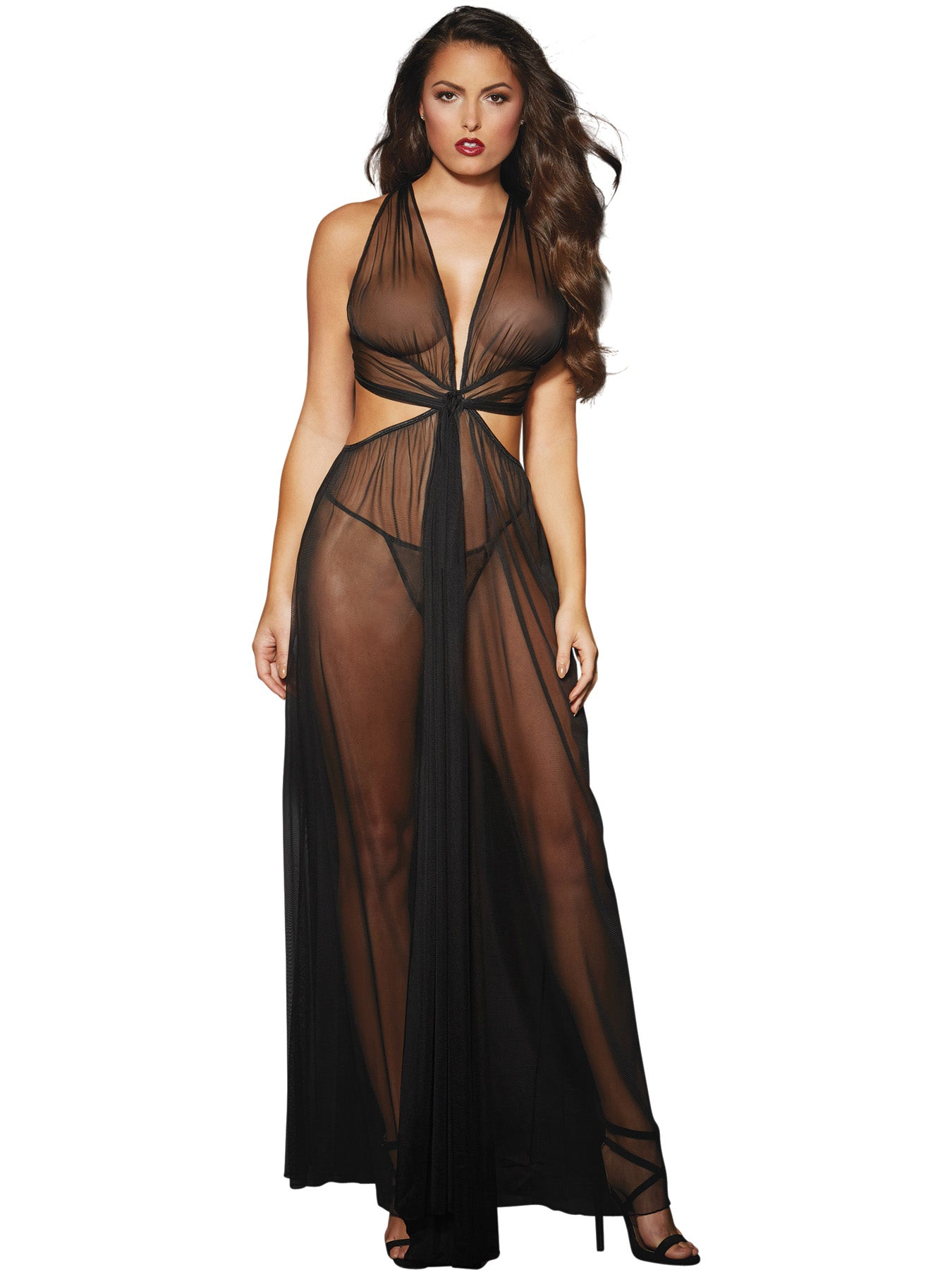 Gown, G-String - One Size - Black-Luvviu