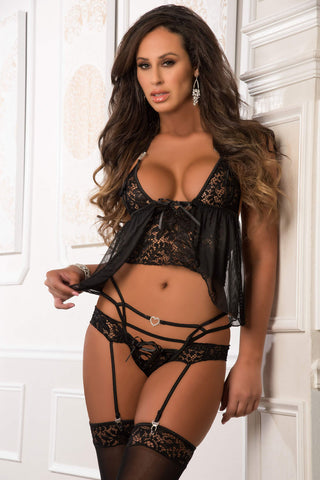 3pc Cami Babydoll Set With Garter Thong and Stocking - One Size - Black-Luvviu