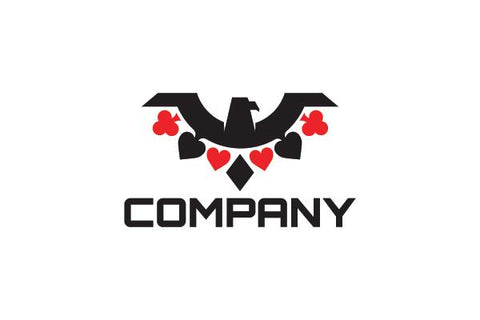 Logo design of a hawk with the feathers shaped like poker symbols.