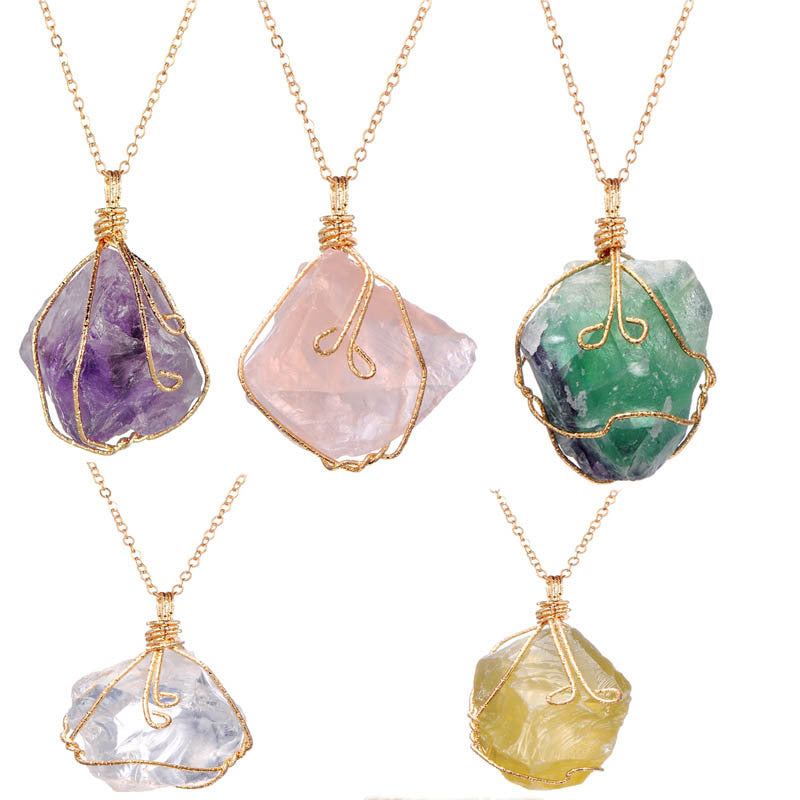 (50% OFF) Natural Irregular Twisted Crystal Ore Pendant Necklace