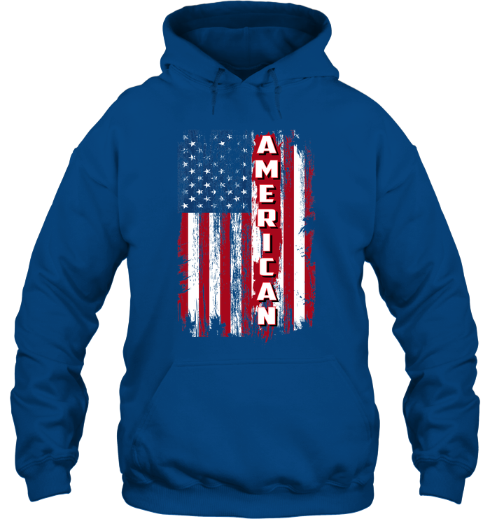American with Distressed Flag Hoodie