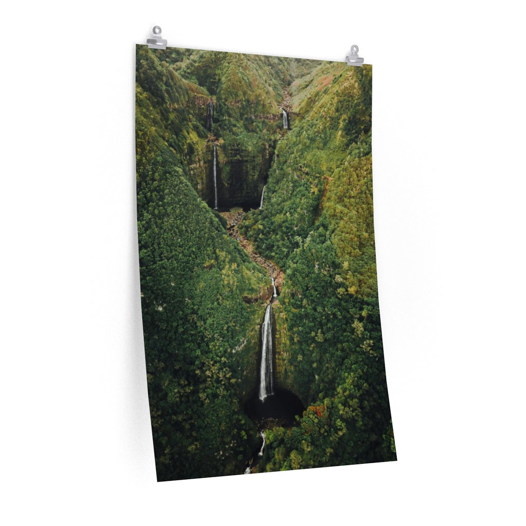 Hawaii Double Waterfall - Vertical Print