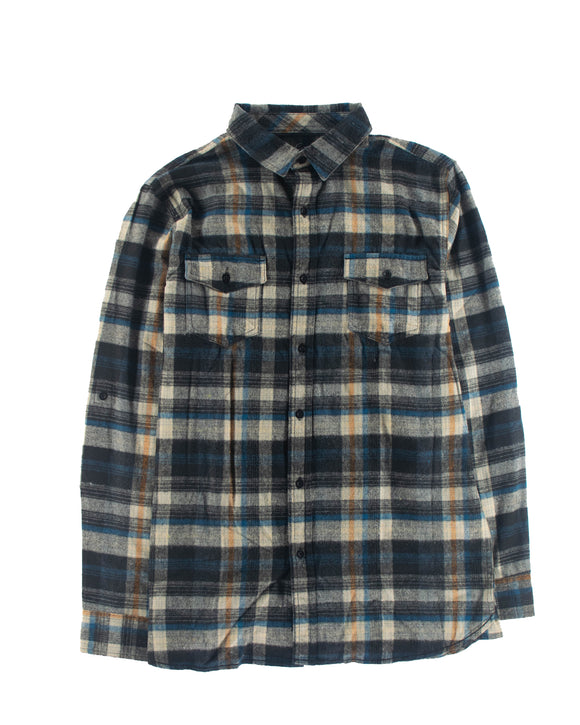 LEADSKATESHOP YARN-DYED FLANNEL DARK KHAKI