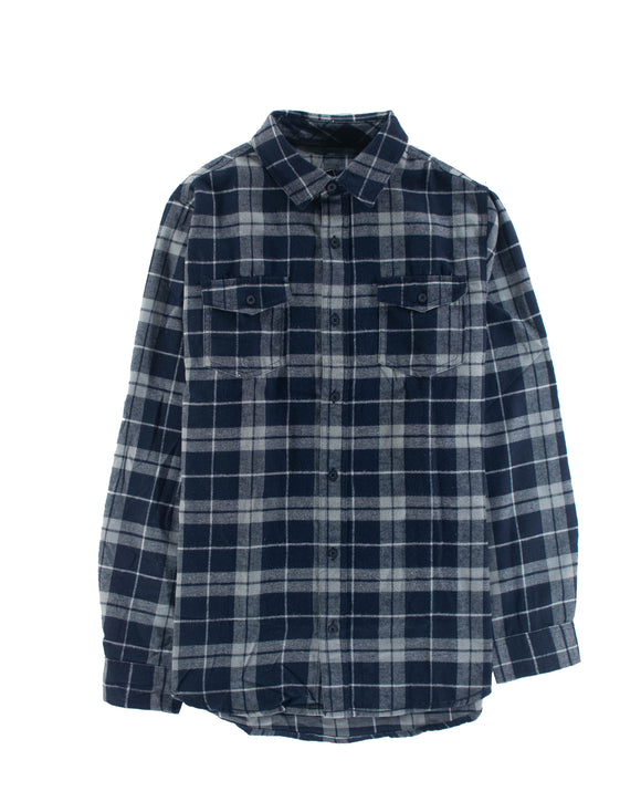 LEADSKATESHOP YARN-DYED FLANNEL NAVY/GREY