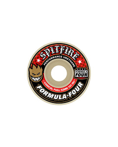 53MM SPITFIRE F4 101DURO CONICAL FULL RED WHEELS