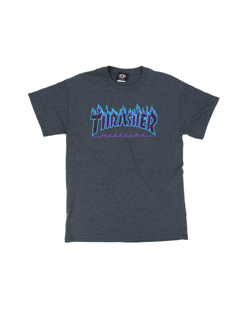 THRASHER FLAME LOGO DARK HEATHER BLUE T-SHIRT