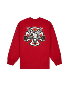 THRASHER PENTAGRAM CROSS REGULAR L/S INDEPENDENT MENS CARDINAL T-SHIRT
