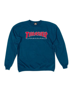 THRASHER OUTLINED NAVY CREWNECK