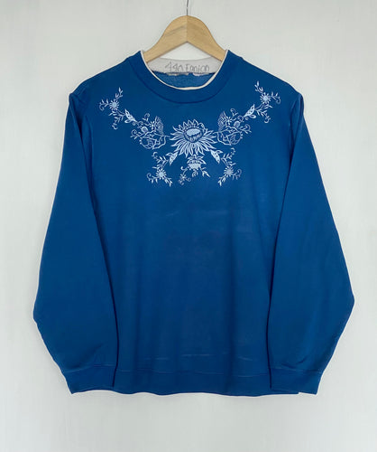 Embroidered 'Floral' sweatshirt (L)