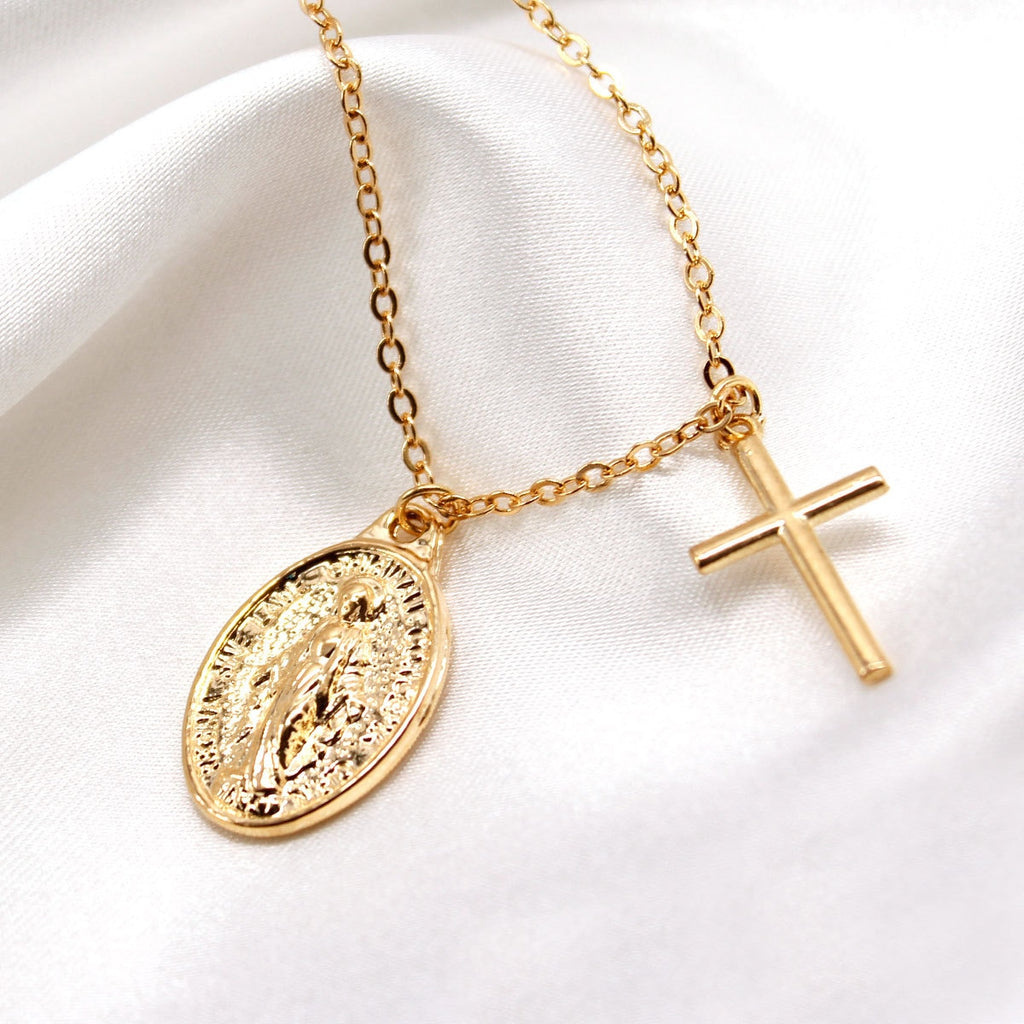 Long Chain Virgin Mary Cross Necklace Female Pendants Clavicle Choker Necklace Collares Jewelry Gifts For Women