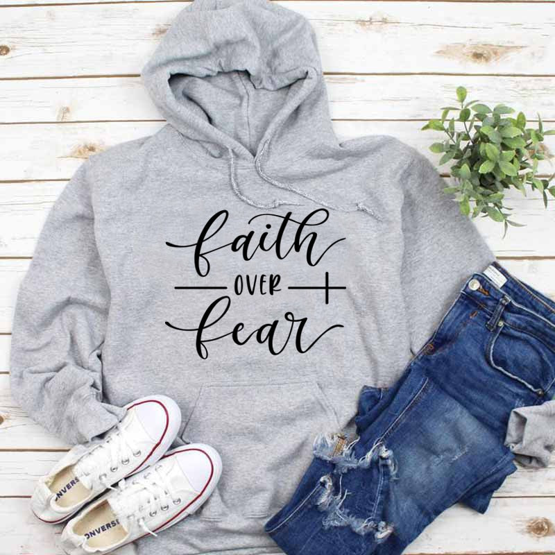 Bible Verse Cotton Grunge Crewneck Faith over Fear Christian Hoodie Casual Tumblr Clothing Jumper Sweatshirts