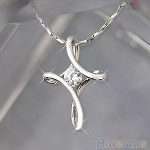 Hot Silver White Plated Crystal Rhinestone Infinity Cross Necklace Pendant  7FF6 BDA2