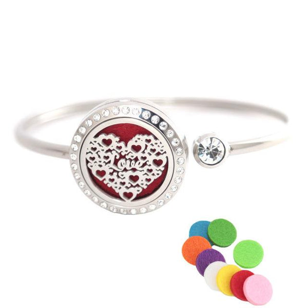 Aromatherapy Locket Bracelet With Rhinestones - Yesines.com