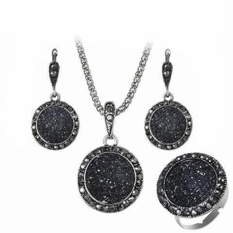 Cameron Black Crystal Jewelry Set - Yesines.com