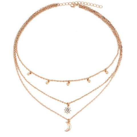 Clio Multirow Moon & Stars Necklace - Yesines.com