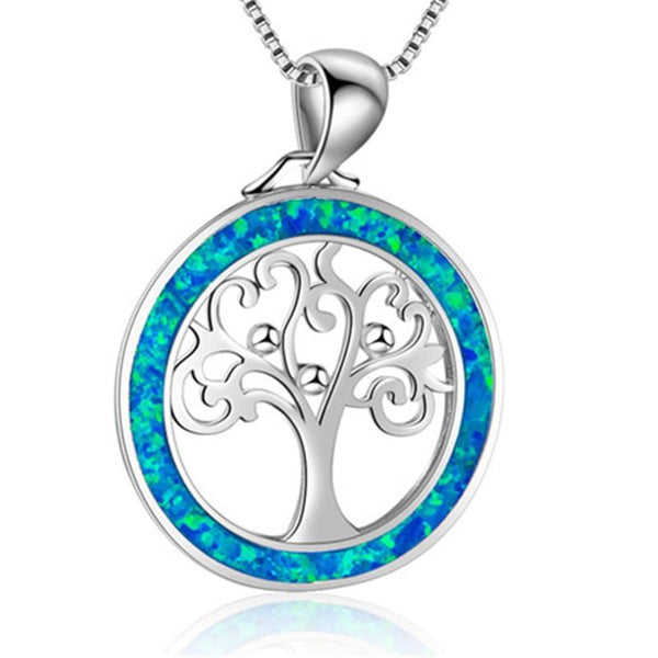 Crystal Copper Tree Of Life Pendant Necklace - Yesines.com