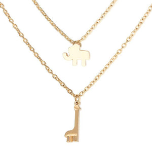 Cute Multilayer Necklace With Elephant & Giraffe - Yesines.com