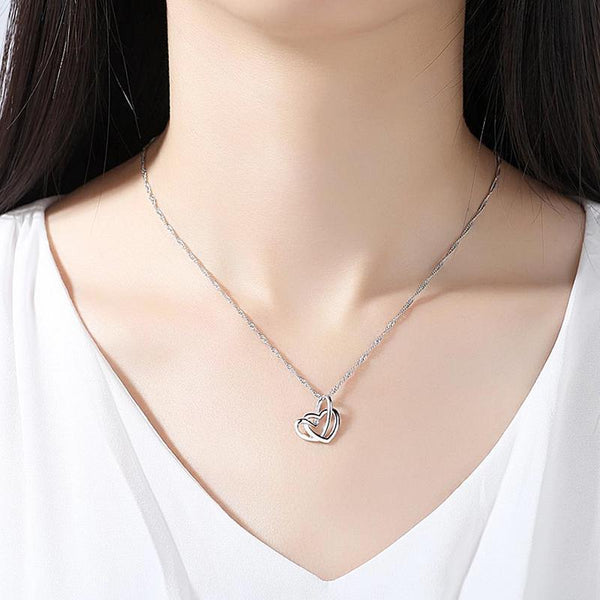 Double Heart Silver Pendant Necklace - Yesines.com
