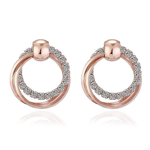 Double Round Rhinestone Stud Earrings - Yesines.com
