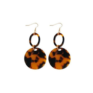 Geometric Leopard Acrylic Earrings - Yesines.com