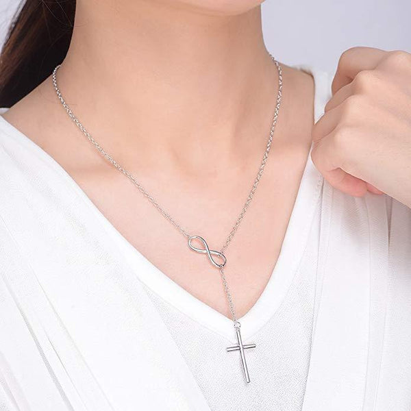 Infinity Cross Long Silver Chain Pendant - Yesines.com