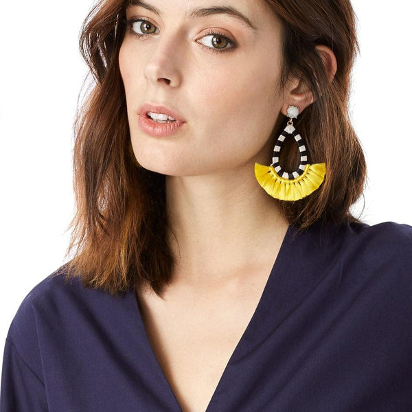 Julia Checkered Tassel Earrings - Yesines.com