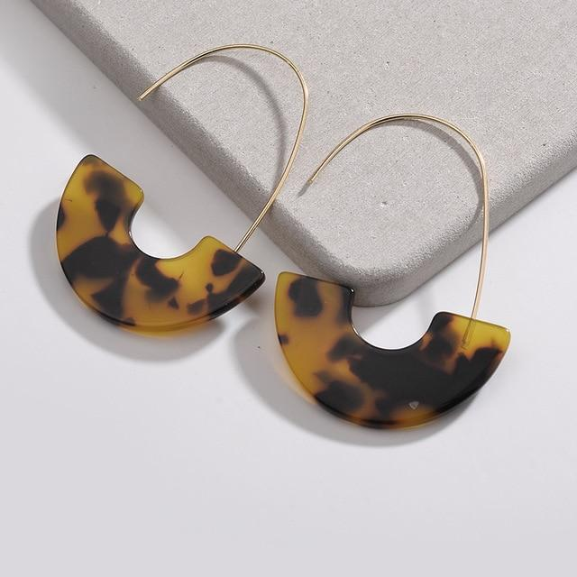 Leopard Print Acrylic Hoop Earrings - Yesines.com