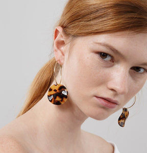 Monica Tortoiseshell Double Hoop Earrings - Yesines.com