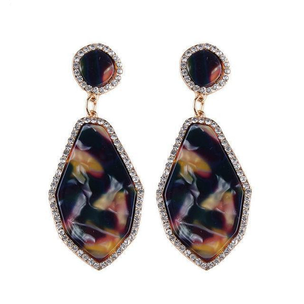Nina Big Geometric Drop Earrings - Yesines.com