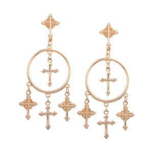 Iris Cross Earrings