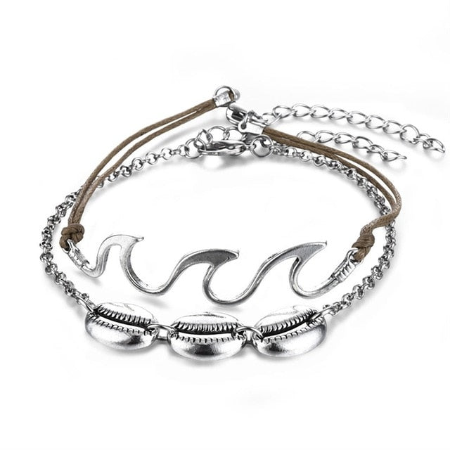 Wave & Shell Anklet Set