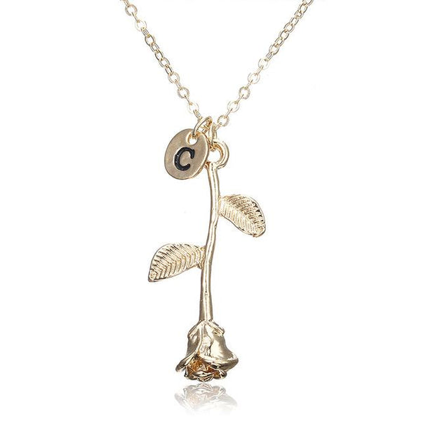 Rose Shaped Initial Pendant Necklace - Yesines.com