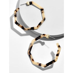 Tortoiseshell Acrylic Geometric Earrings - Yesines.com