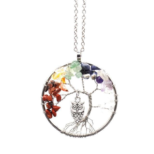Tree Of Life Inlay Owl Wisdom Pendant Necklace - Yesines.com
