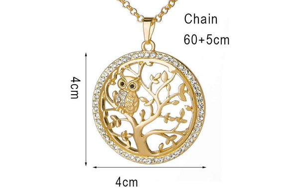 Tree Of Life Necklace With Small Owl - Yesines.com