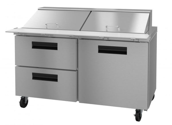 Tor Rey 2 Drawer 1 Door Refrigerated Pizza/Sandwich Prep Table w/Casters  PTP-11-DRAWER