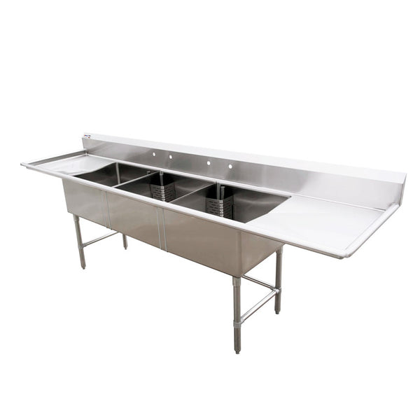 18″x21″x14″ Three Tub Sink with 1.8″ Corner Drain and Two Drain Boards 25273