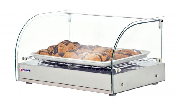 22-INCH COUNTERTOP DISPLAY WARMER WITH FRONT CURVED GLASS AND 1 REAR HINGED DOOR