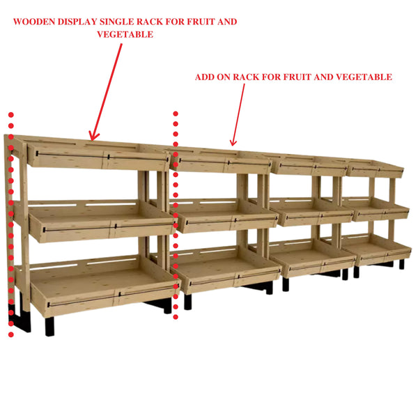 Wooden Display Single Rack For Fruit And Vegetable Hbr-3039