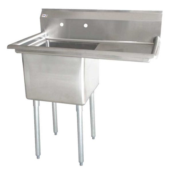 18″x21″x14″ One Tub Sink with 1.8″ Corner Drain and Right Drain Board 25264
