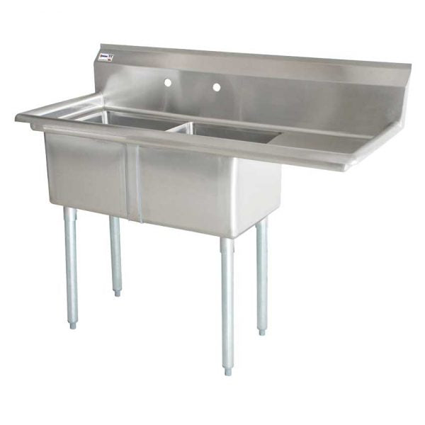 18″x21″x14″ Two Tub Sink with 1.8″ Corner Drain and Right Drain Board 25268